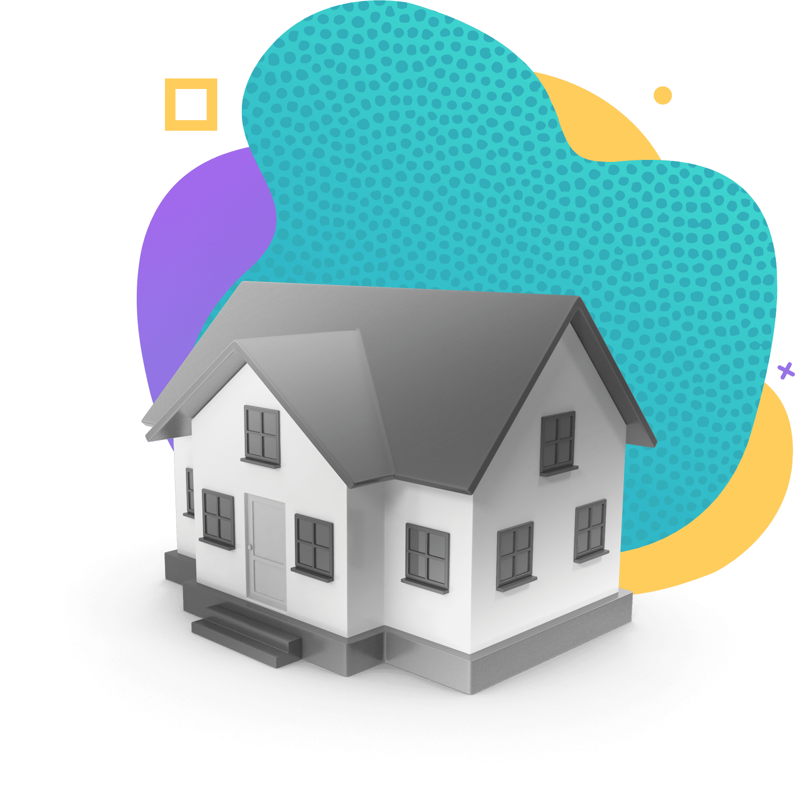 House icon sitting on top of color blobs